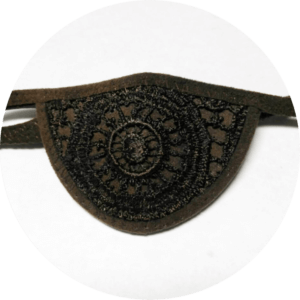 Brown lace custom eye patch lined with ultrasuede