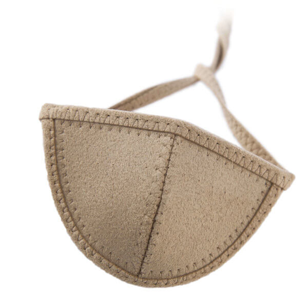 Light brown Ultrasuede eye patch with half-circle shaped eye cup