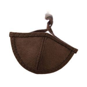 Dark brown Ultrasuede eye patch with a half-circle shaped eye cup