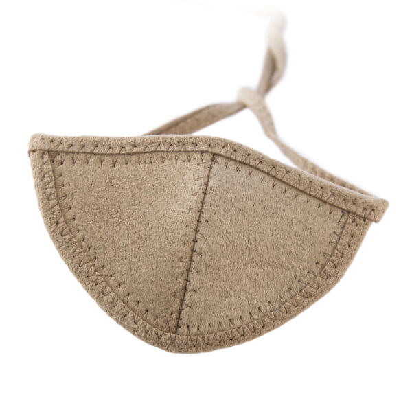 Light brown Ultrasuede eye patch with a half-circle shaped eye cup