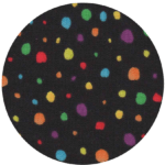 Pattern print swatch with rainbow colored dots on a black background