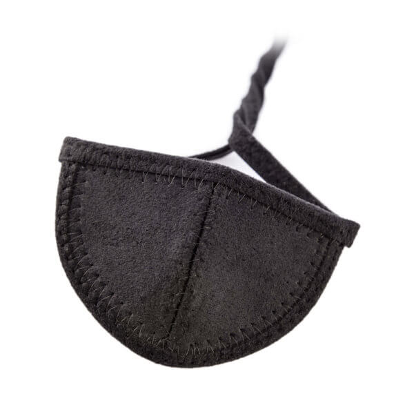 Black Ultrasuede eye patch with half circle shaped cup.