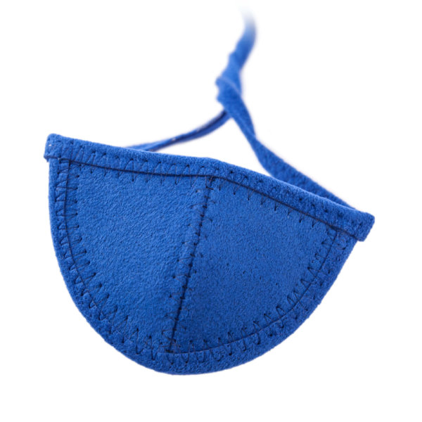 Royal blue Ultrasuede eye patch with half circle shaped cup