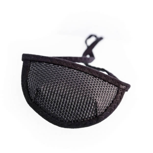 black, see through, mesh eye patch with half circle shaped cup