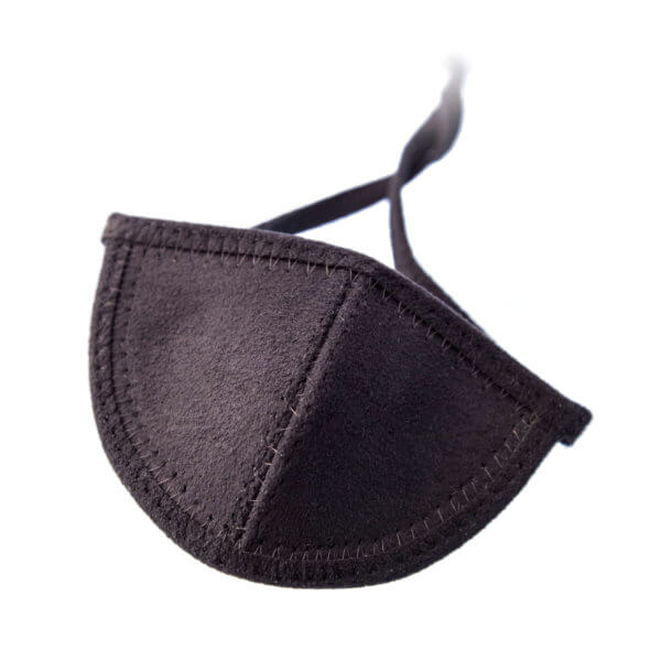 Black ultrasuede eye patch with half circle shaped cup