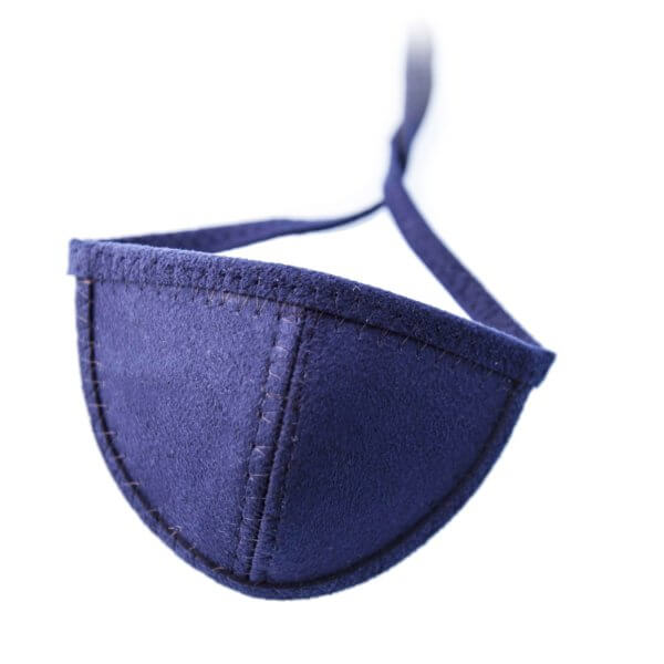Navy blue ultrasuede eye patch with half circle shaped cup