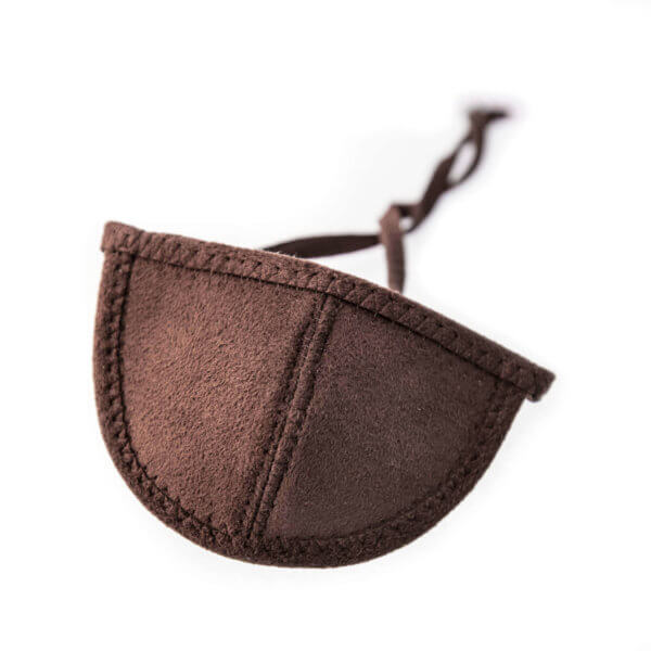 Dark brown ultrasuede eye patch with half circle shaped cup