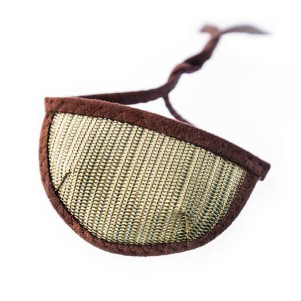 dark brown, see through, mesh eye patch with half circle shaped cup