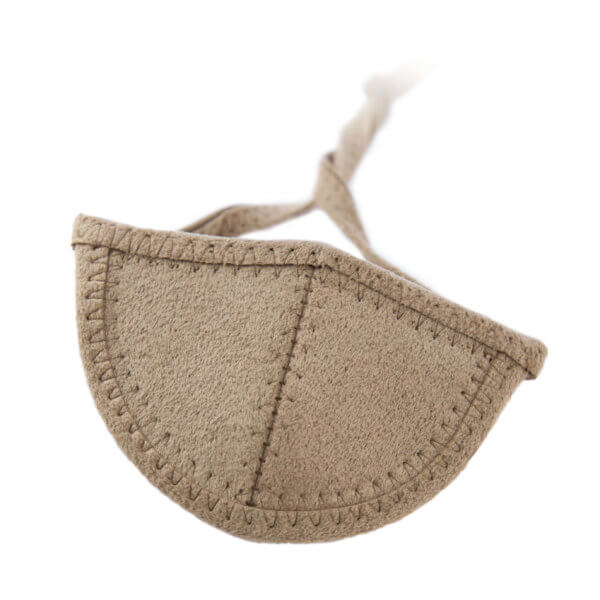 Light brown Ultrasuede eye patch with half circle shaped cup