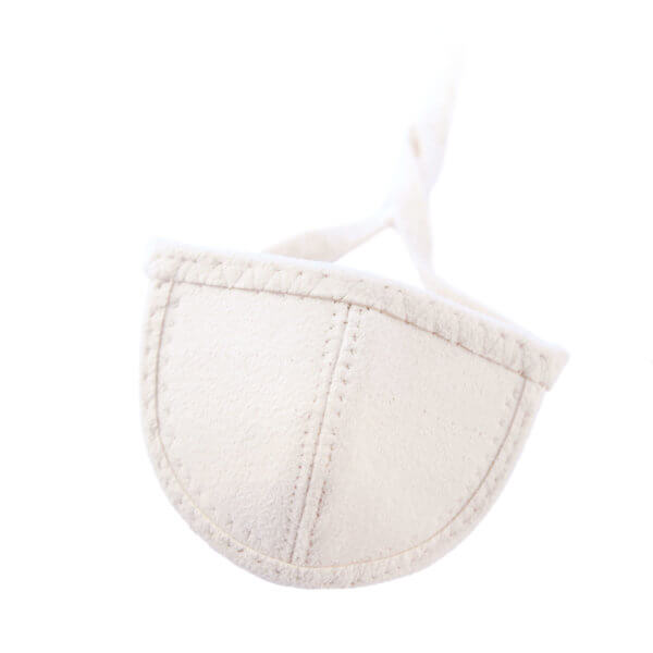 cream Ultrasuede eye patch with half circle shaped cup